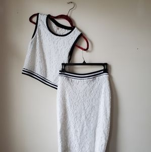 Guess Crop Top & Matching Lace skirt